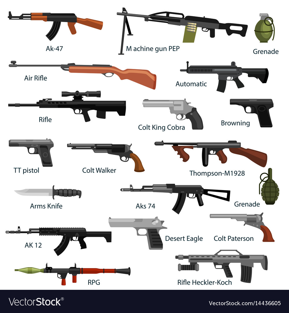 Military gun set automatic and hand weapon in vector image