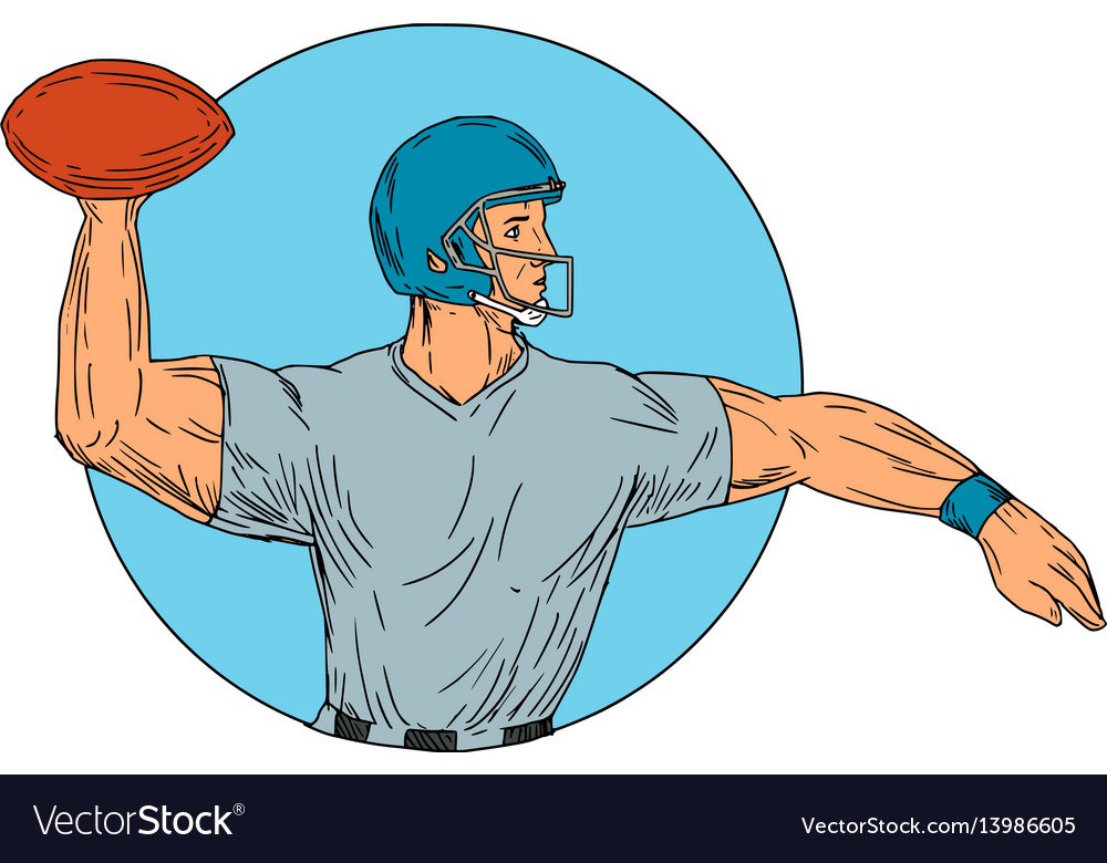 Quarterback qb throwing ball motion circle drawing vector image
