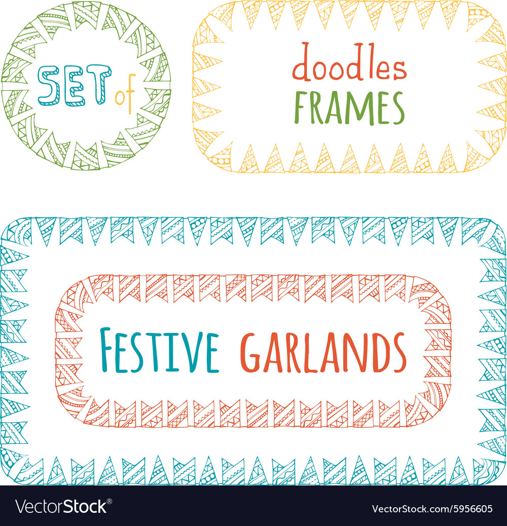 Set of bunting frames isolated on white background