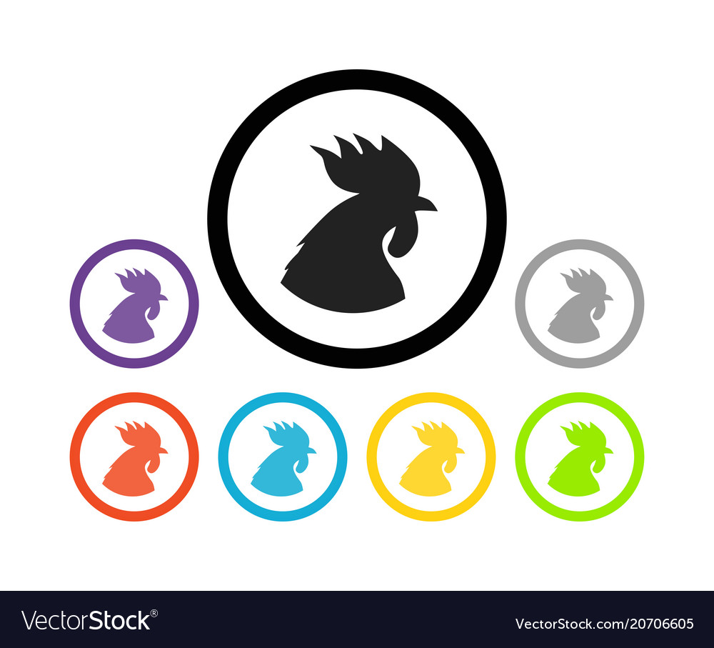 Set of colorful round icons of cocks