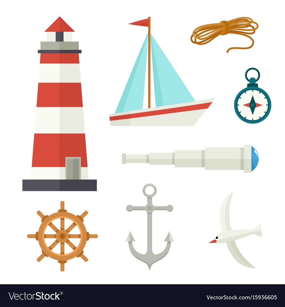 Set of flat cartoon style nautical elements