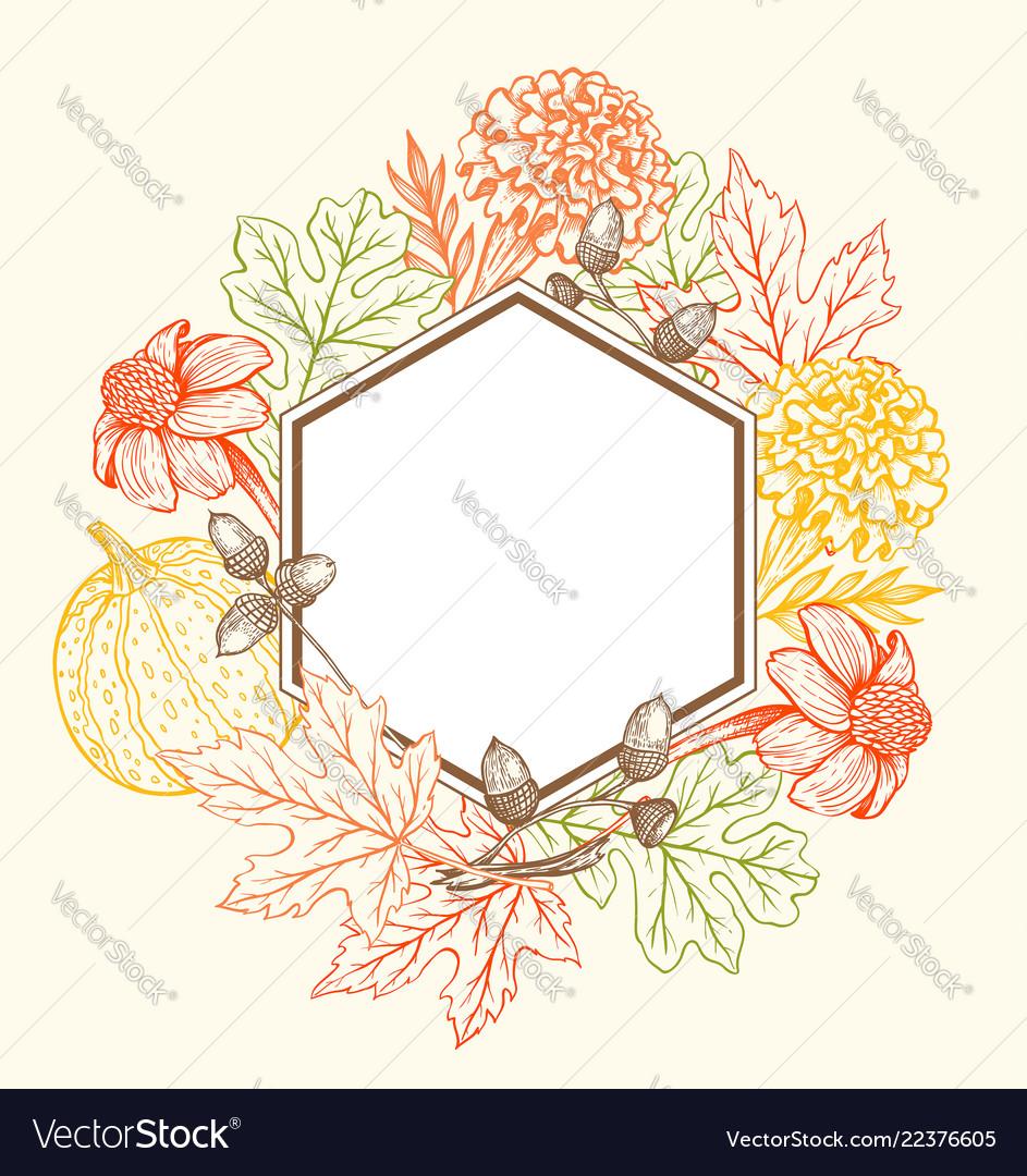 Vintage Floral Frame For Seasonal Fall Sale Vector Image