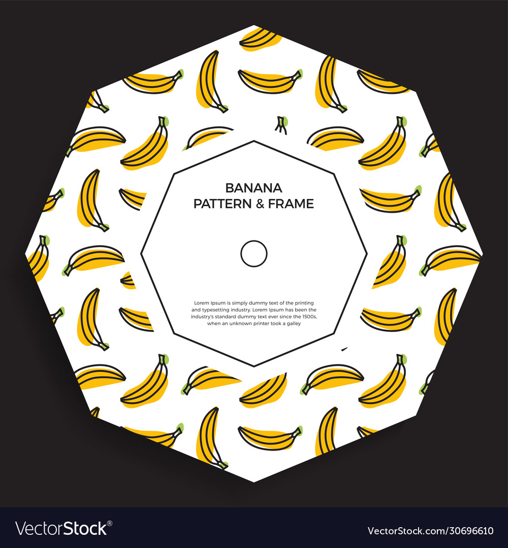 Abstract shape postcard with seamless banana