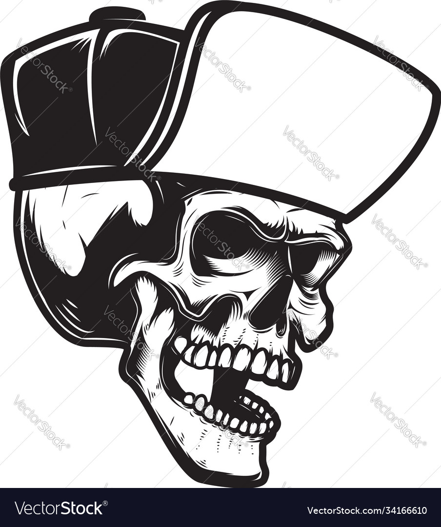 Bearded skull in baseball cap in engraving style