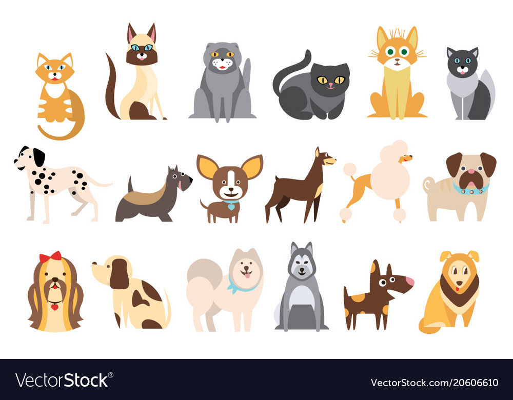 Cartoon collection of funny cats and dogs of