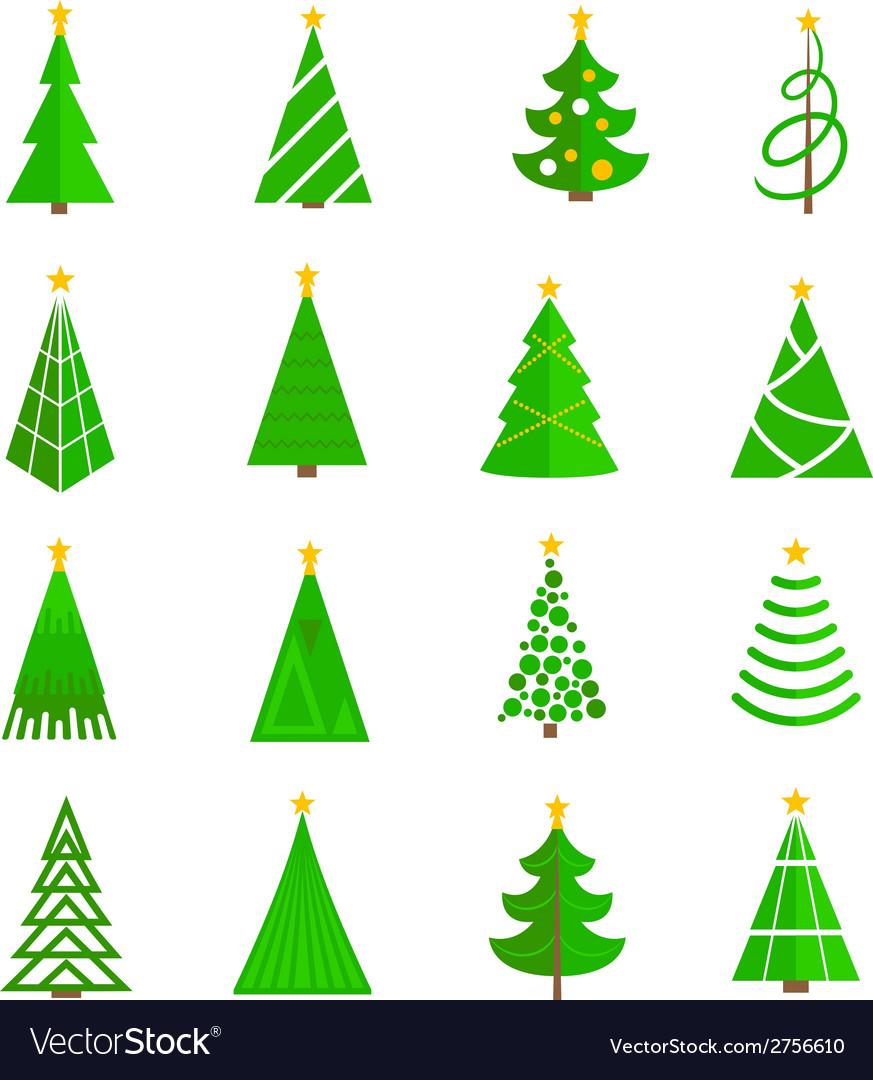 Christmas Tree Icons.Christmas Tree Icons Flat