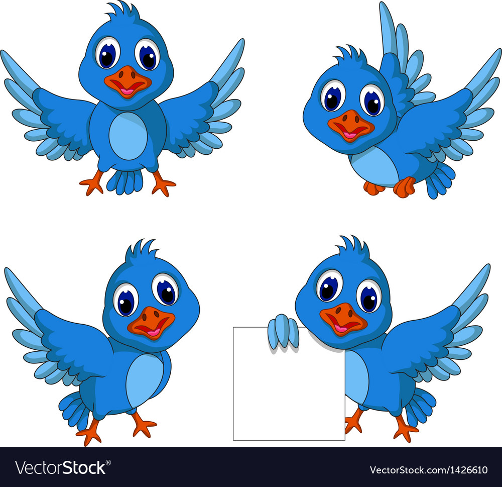 Cute blue bird cartoon collection vector image