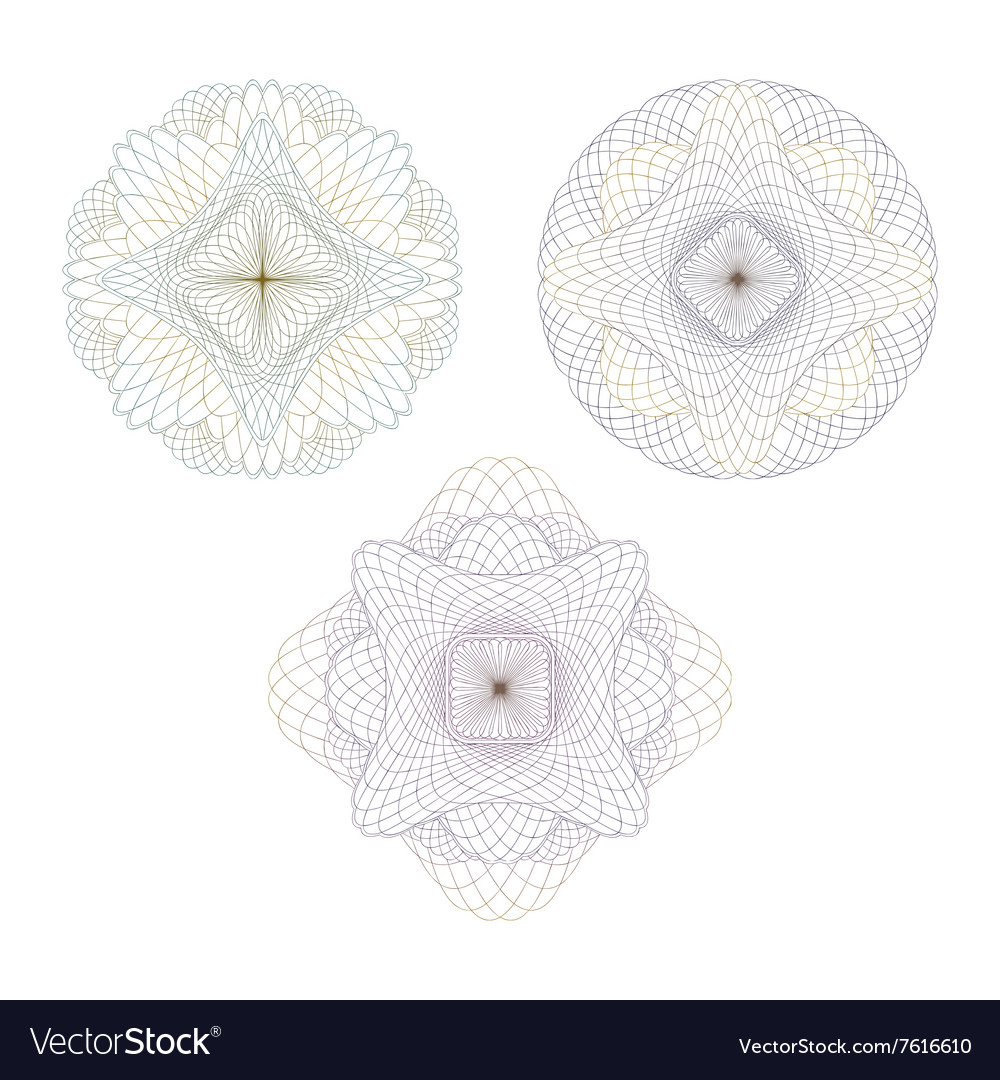 Guilloche abstract rosettes