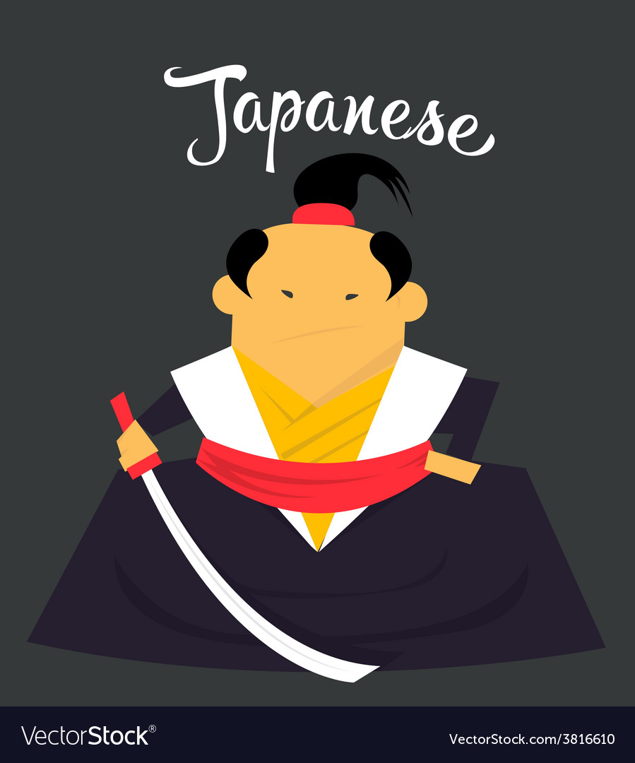 Japanese man character monk or samurai citizen of vector image