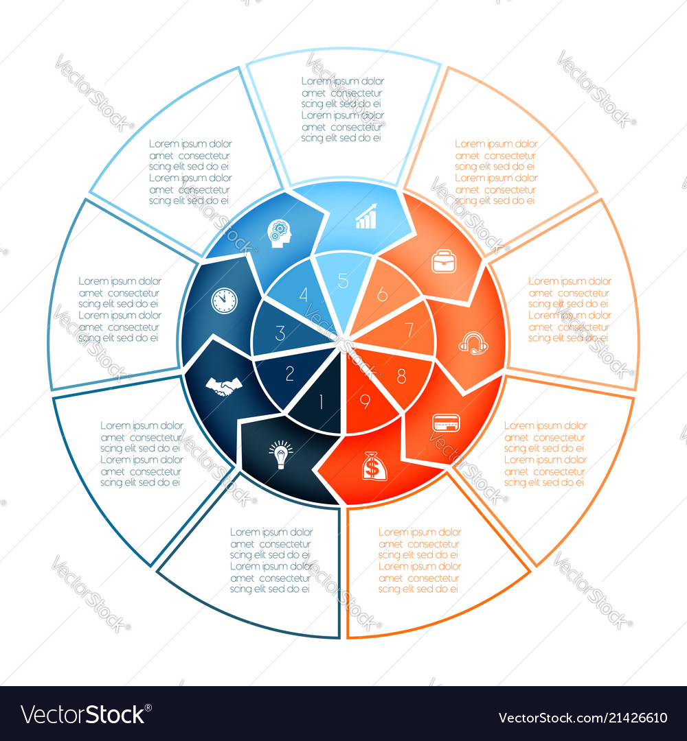 Ring of arrows infographic chart template for