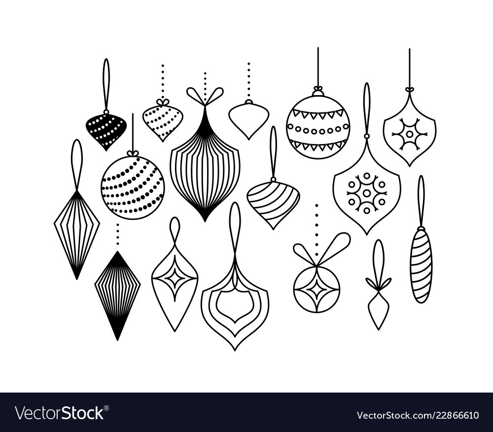 Set of christmas tree toys hanging