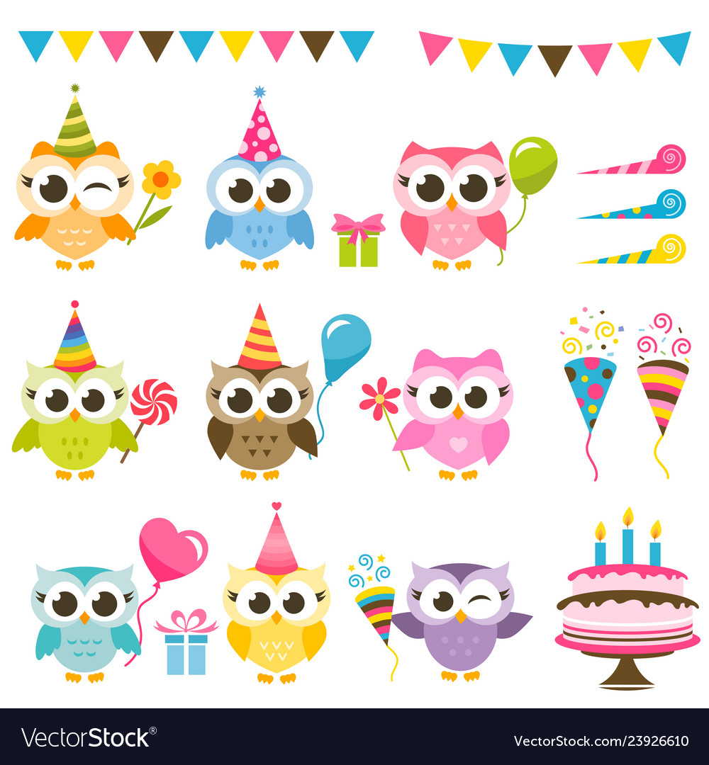 Set of cute owls with birthday elements