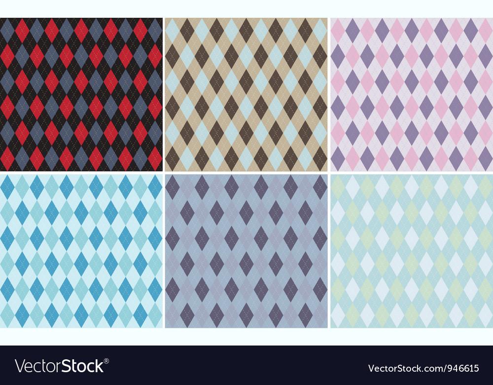 Argyle Plaid Pattern Set vector image
