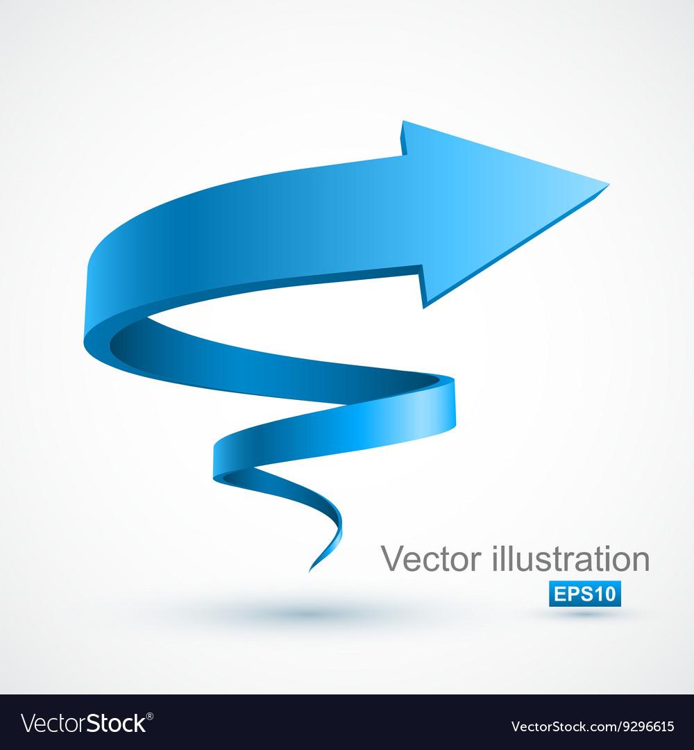 Blue spiral arrow 3D vector image