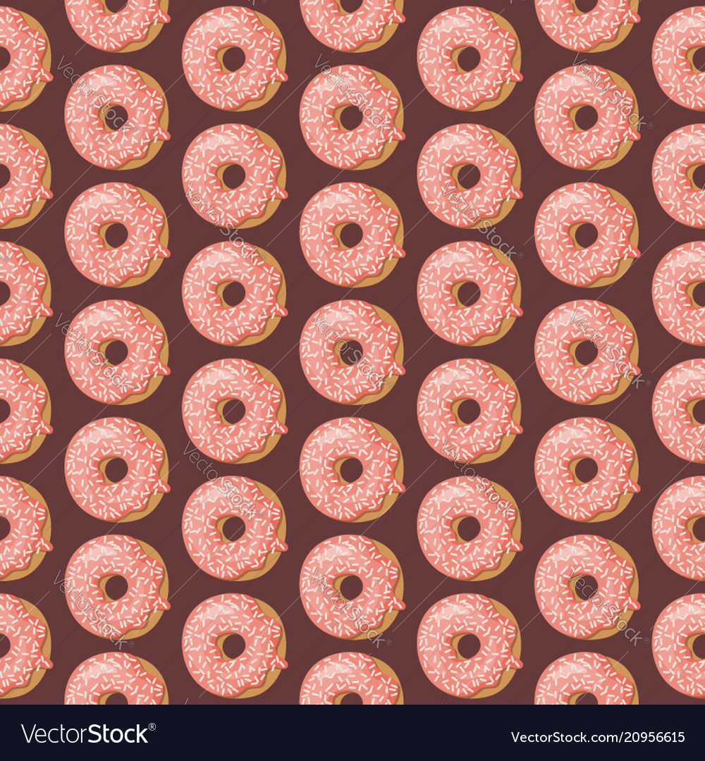 Cartoon seamless pattern with glazed donuts donut
