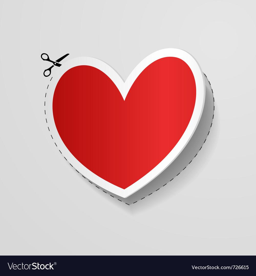 Cut heart shaped sticker