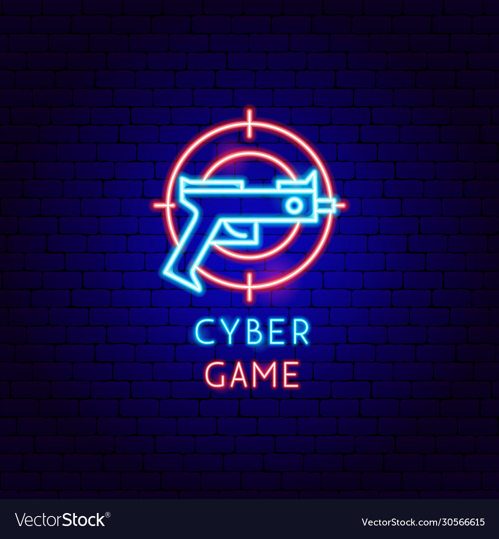 Cyber game neon label
