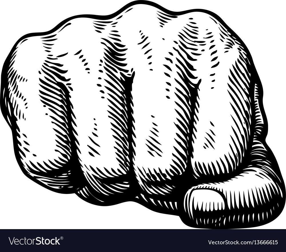 Fist hand gesture sketch punch symbol vector image