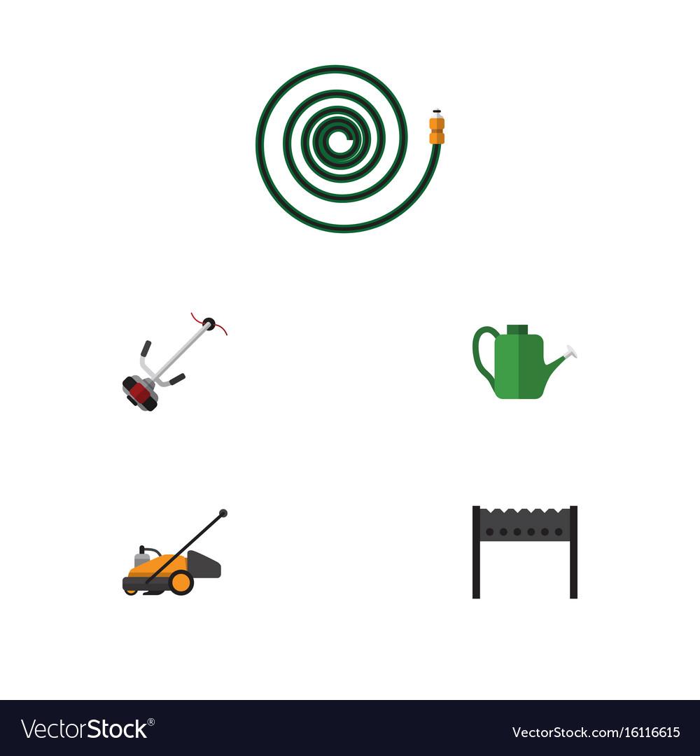 Flat icon dacha set of lawn mower hosepipe grass