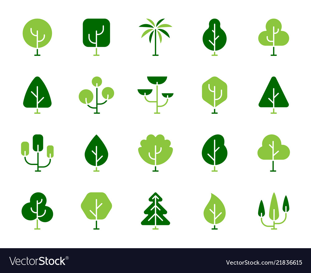 Geometric trees simple color flat icons set