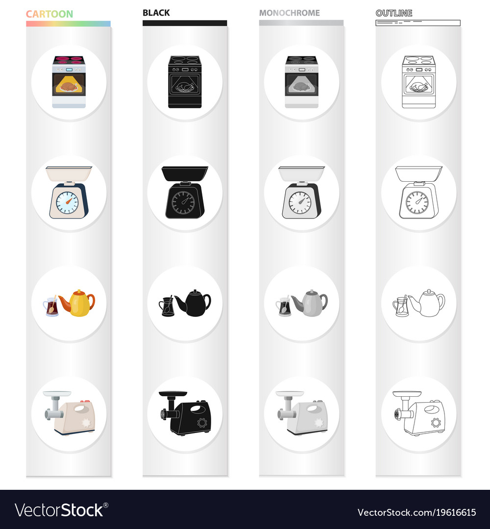 Kitchen equipment cartoon icons in set collection Vector Image