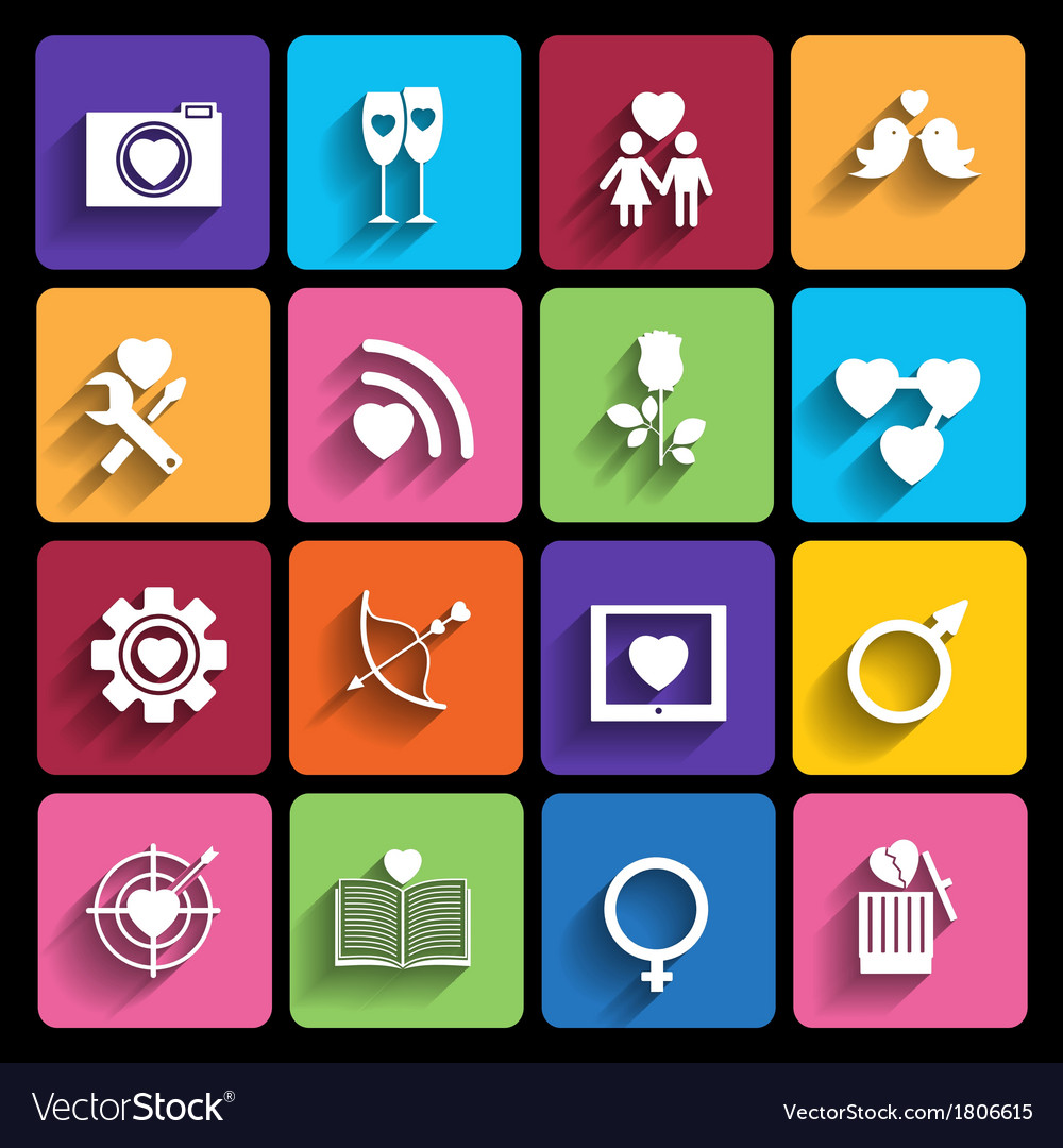 Love icons set in flat style vector image