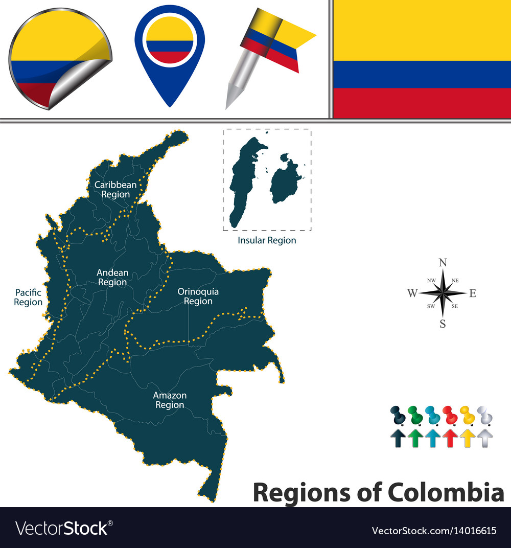 Map of colombia with natural regions royalty free vector map of colombia with natural regions vector image gumiabroncs Image collections