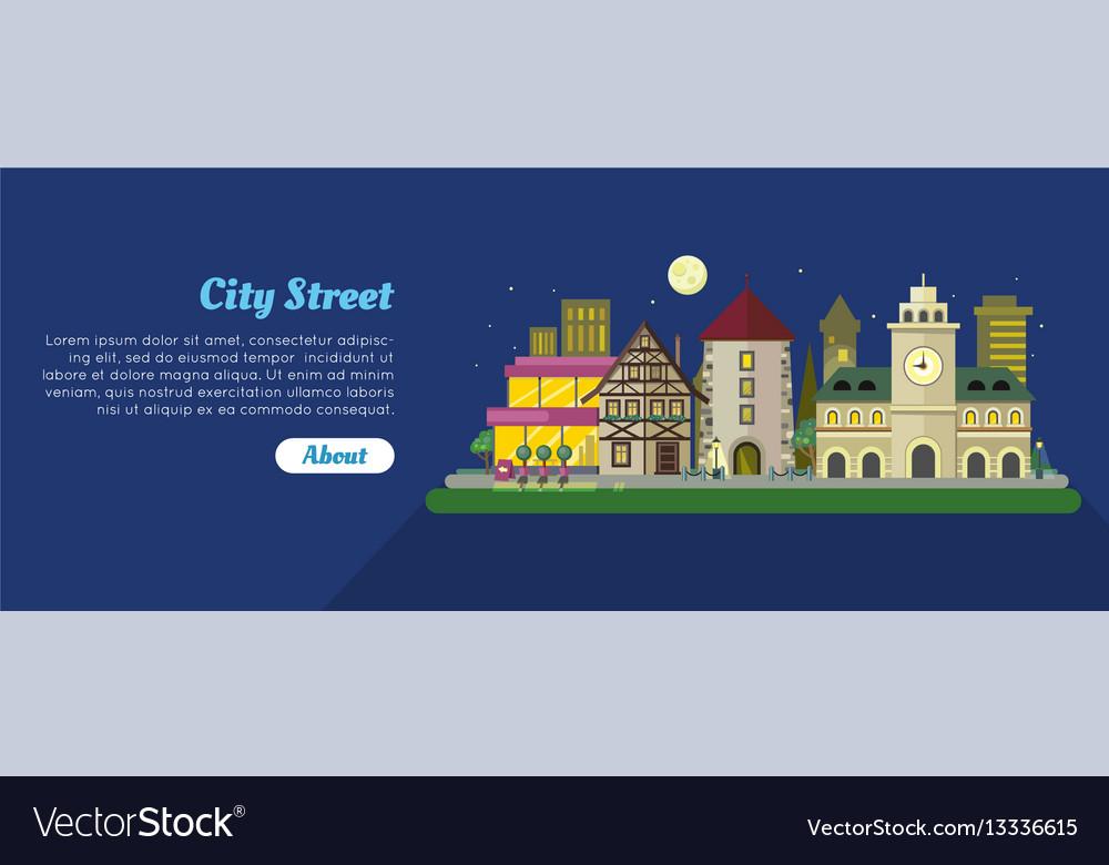 Night city street day flat banner