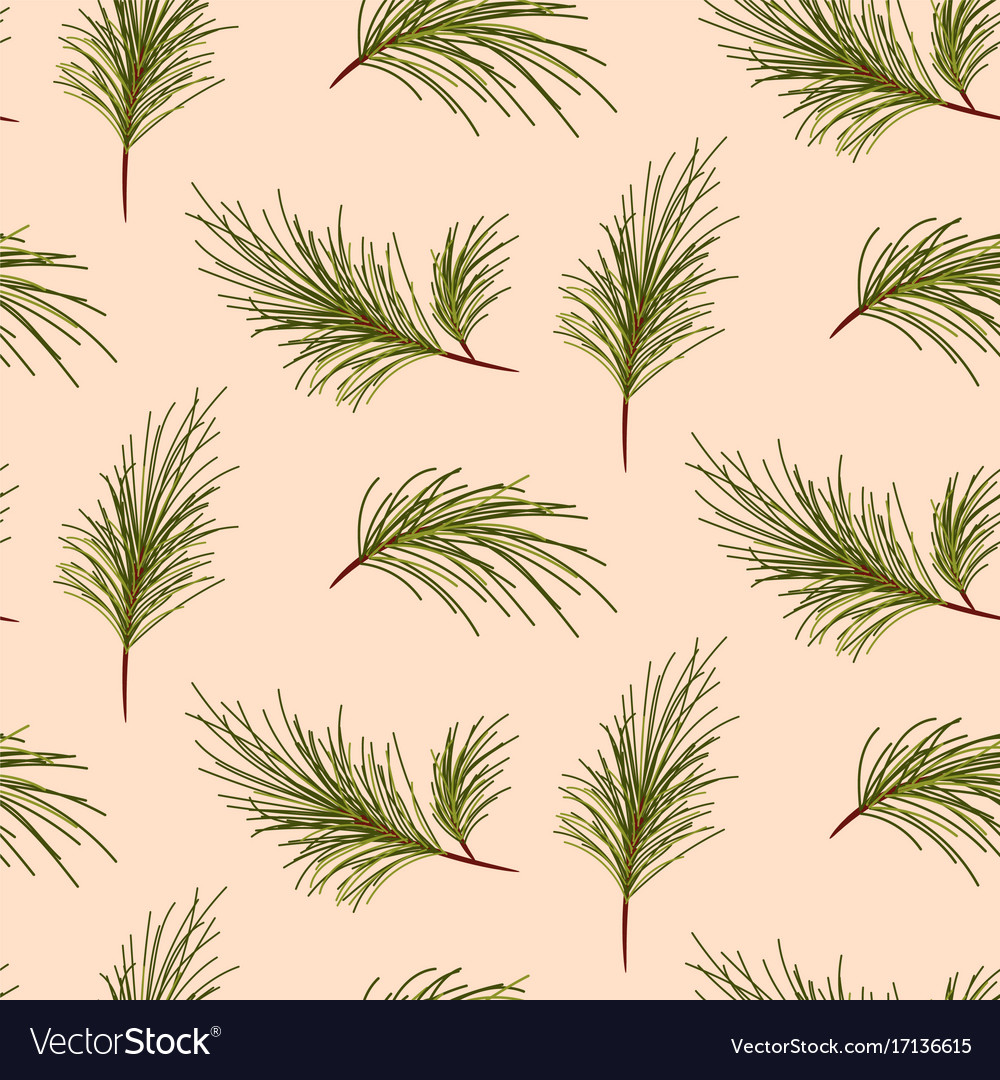 Pine tree branches on pale pink background pattern