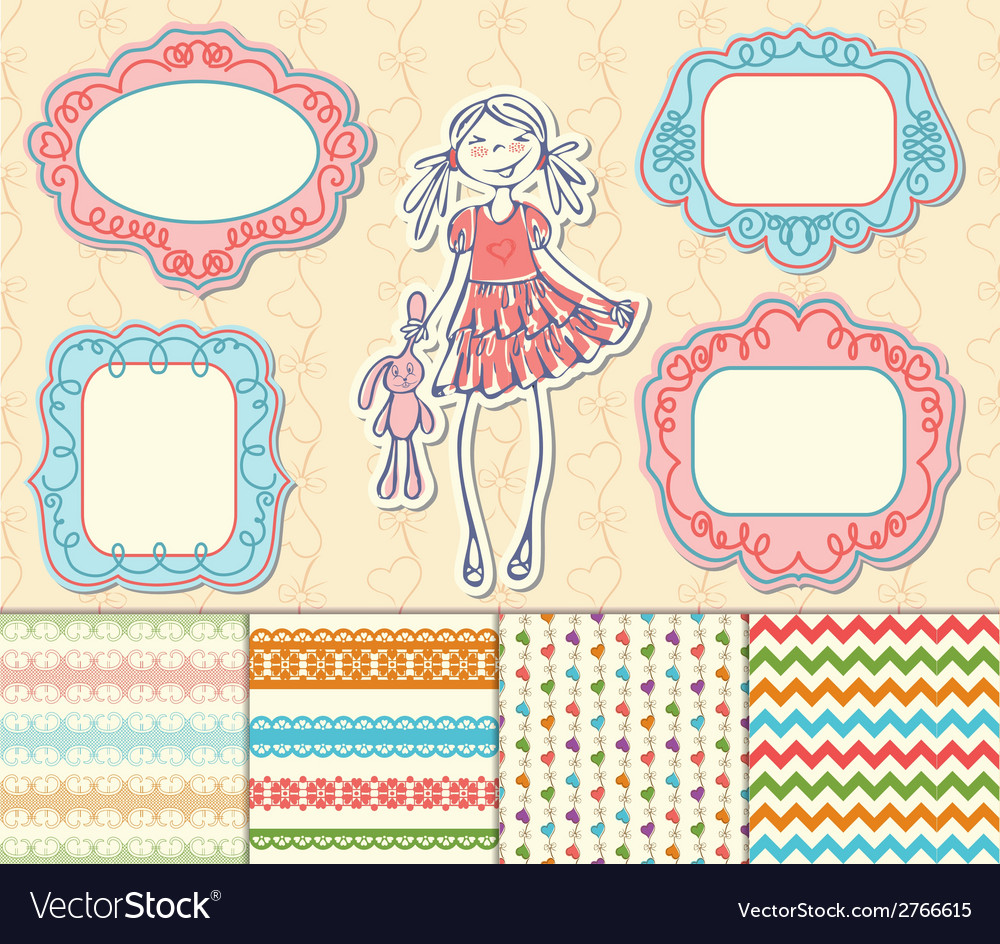 Romantic set of labels frames and pattern vector image