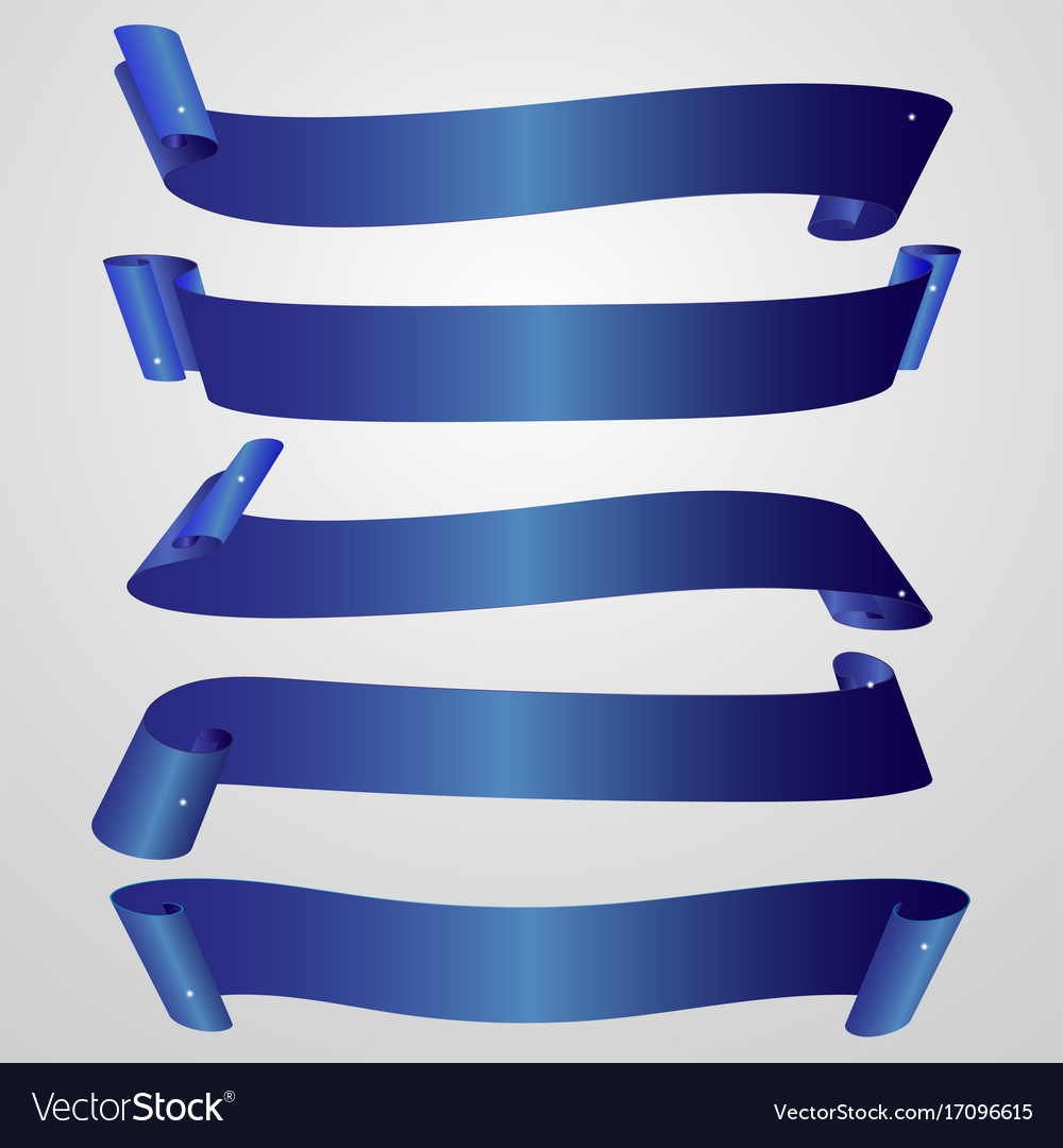 Set of horizontal blank blue ribbon banner Vector Image