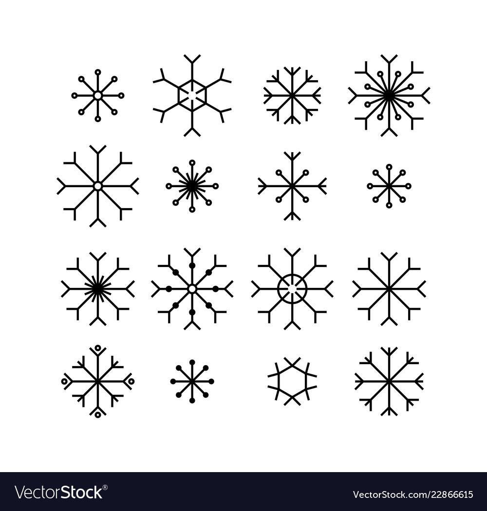 Snowflake icons set isolated on white background