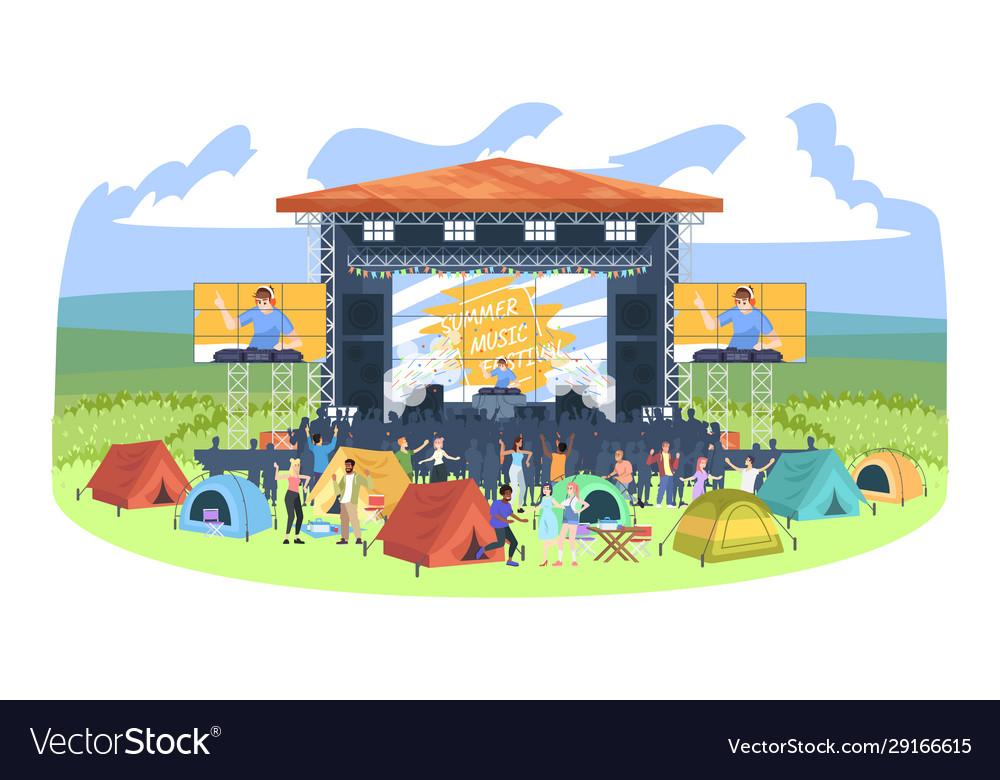 Summer camping dj festival flat people