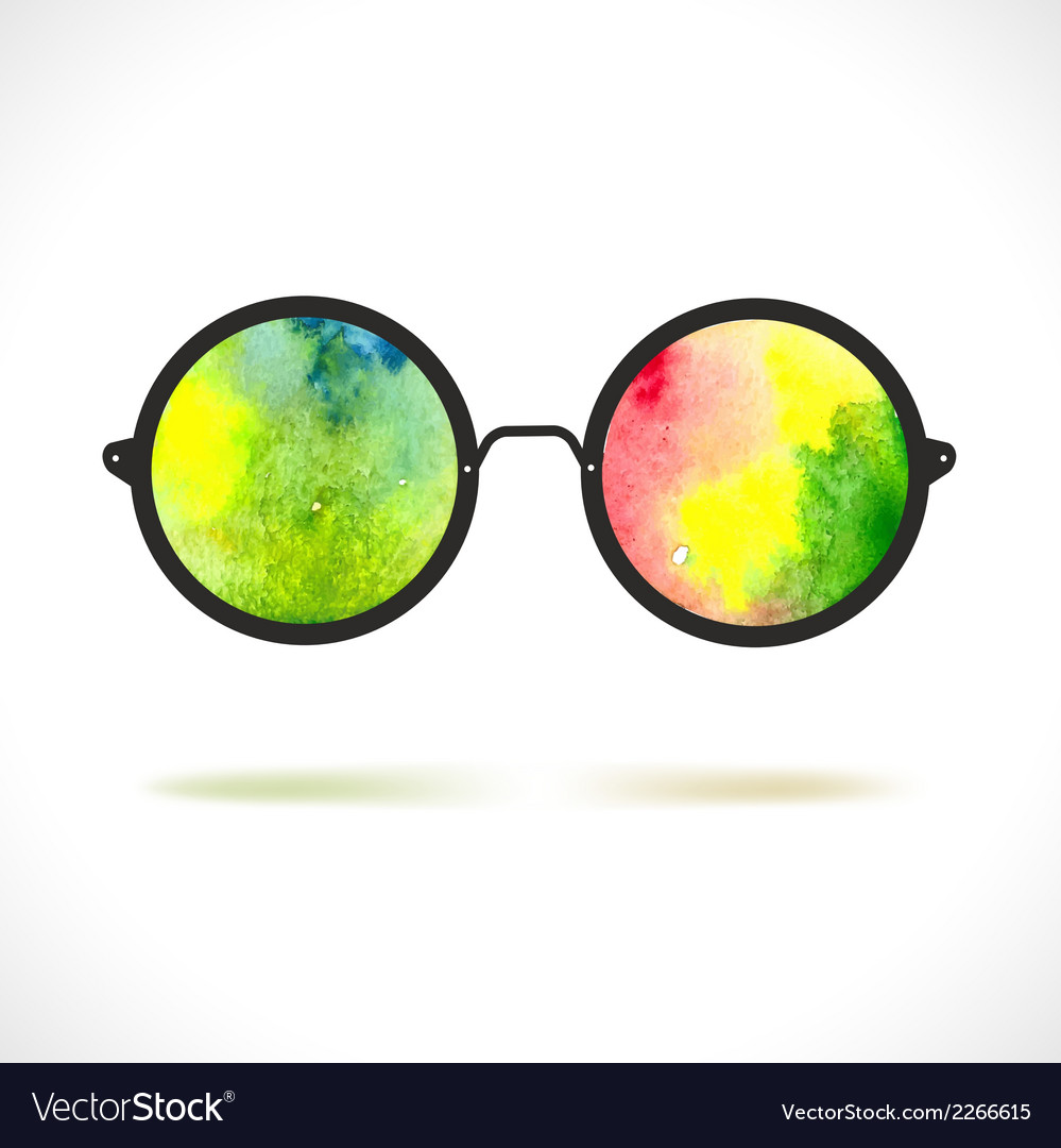 118392ea536 Sun glasses with reflection of colorful watercolor vector image