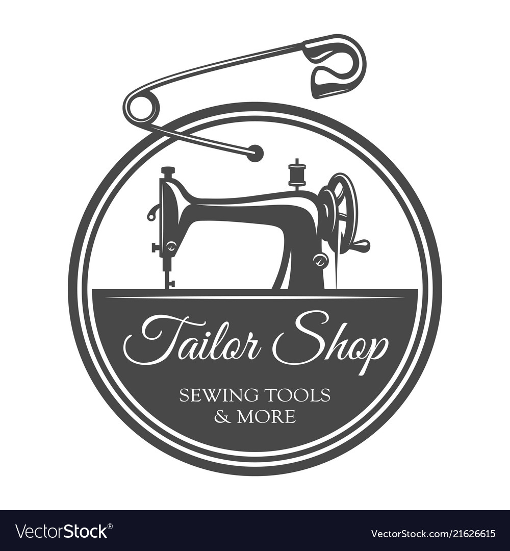Vintage Tailoring Round Label Template Royalty Free Vector