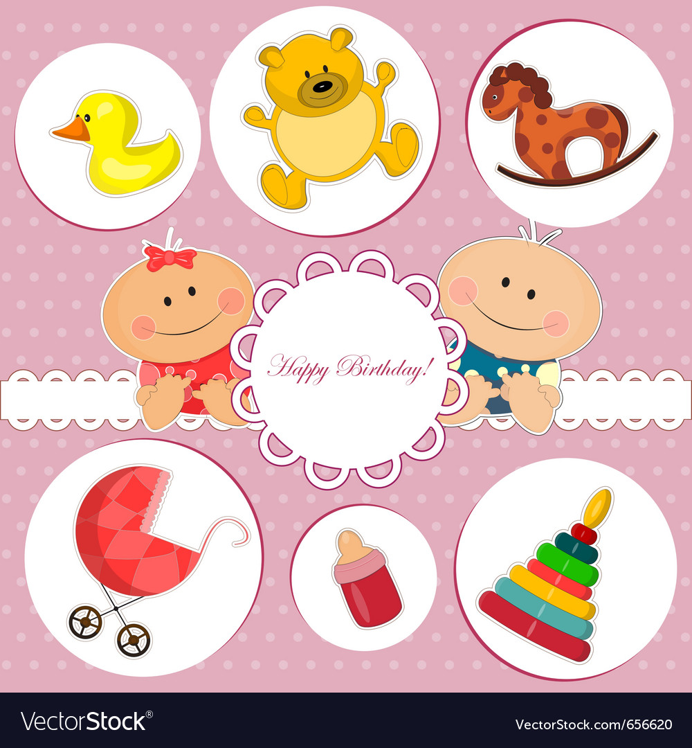 Baby birthday card vector image