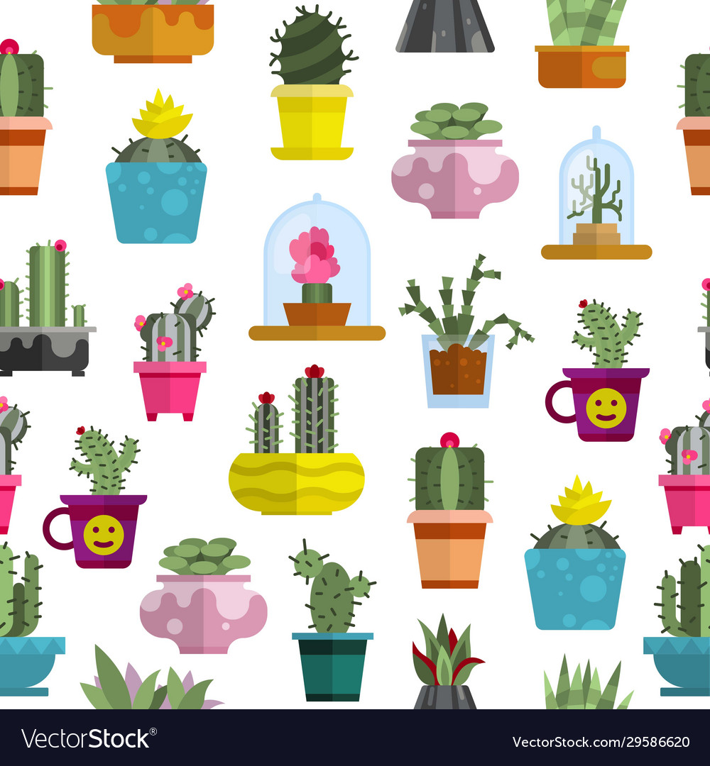 Cartoon cactuses and succulents seamless pattern