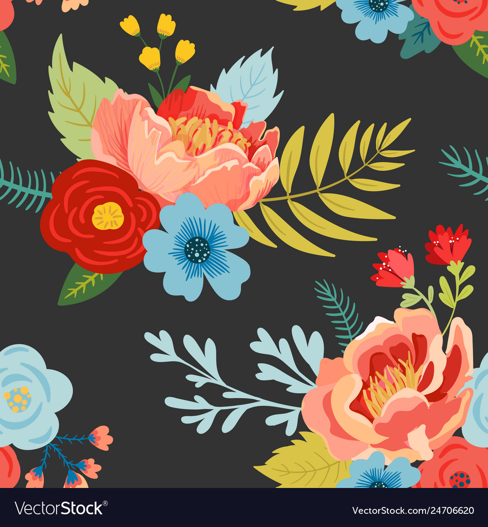 Floral seamless pattern with flowers buds leaves