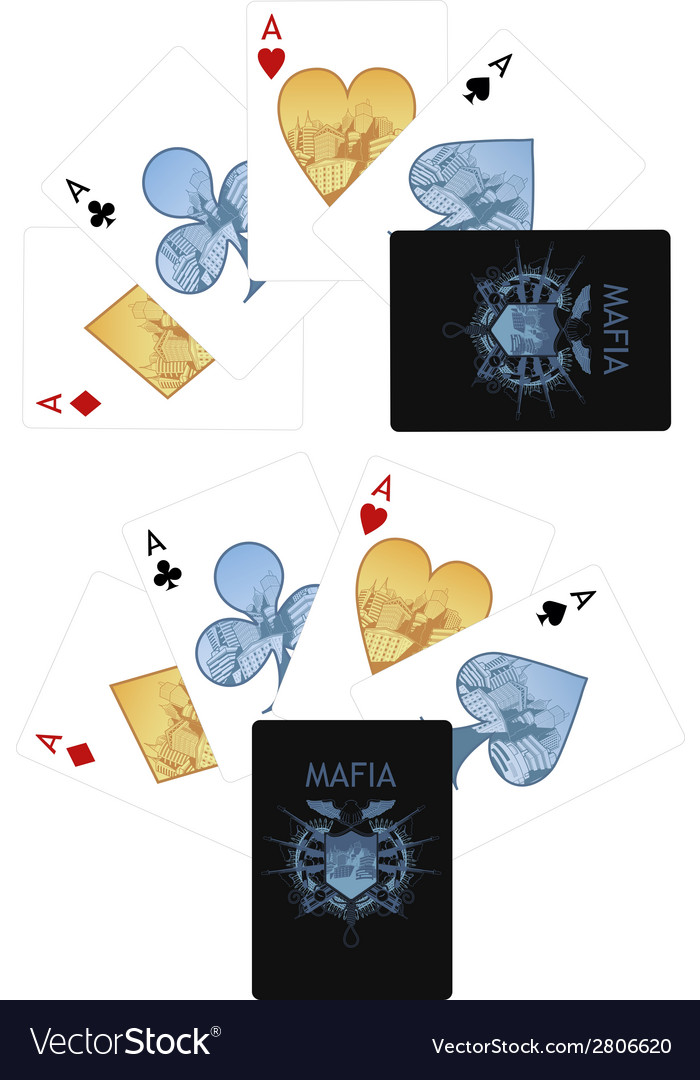 Four aces playing cards noir Mafia set vector image
