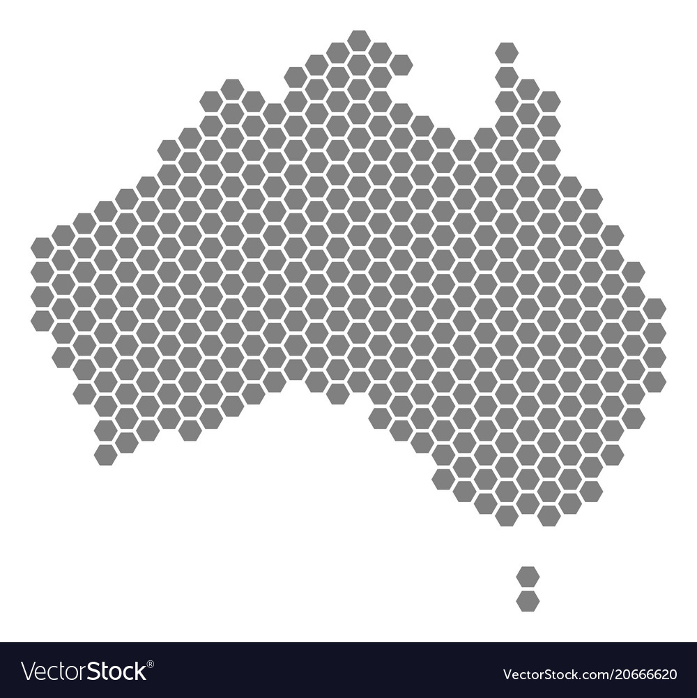 Australia Map Grey.Grey Hexagon Australia Map Royalty Free Vector Image