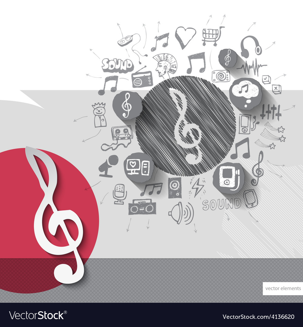 Hand drawn treble clef icons with icons background