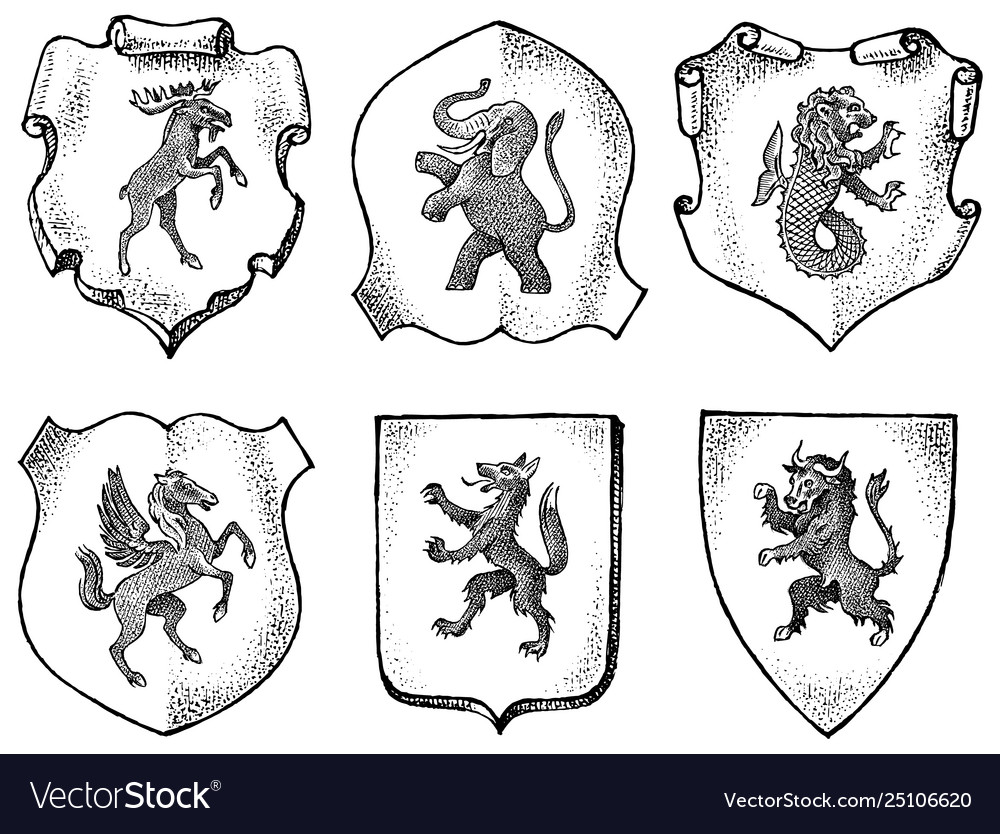 Heraldry in vintage style engraved coat arms