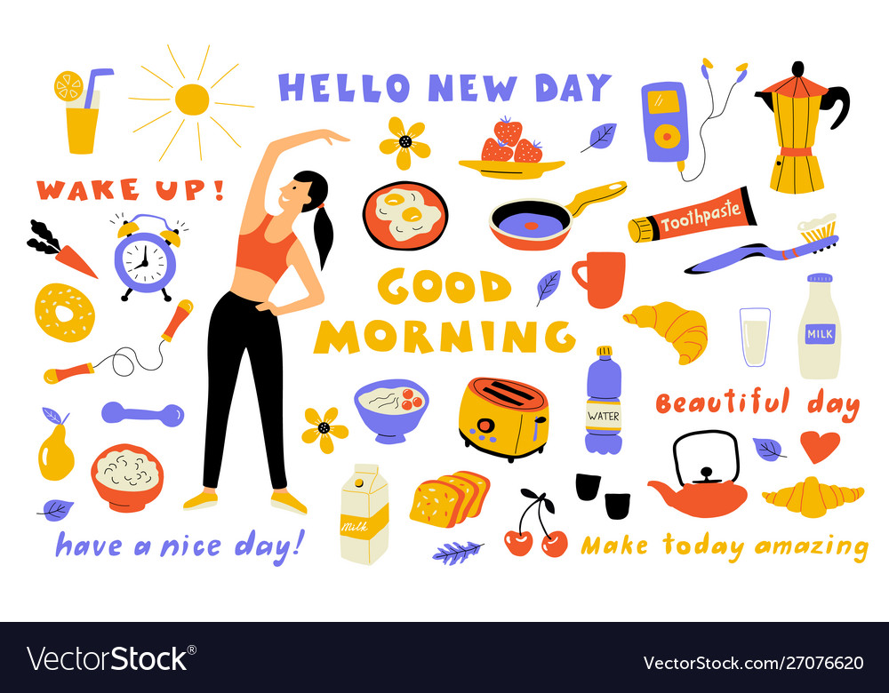 Morning lifestyle cute doodle set with lettering