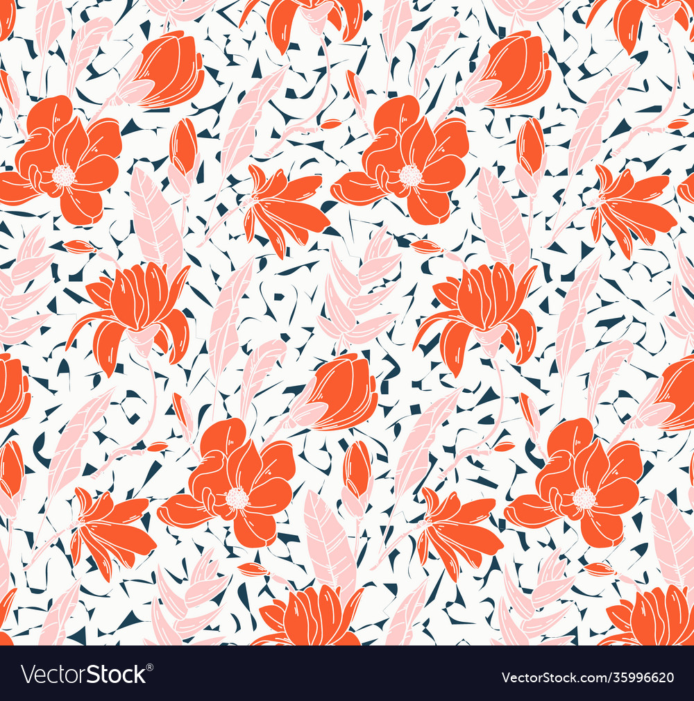 Seamless rose pattern with spring flowers and