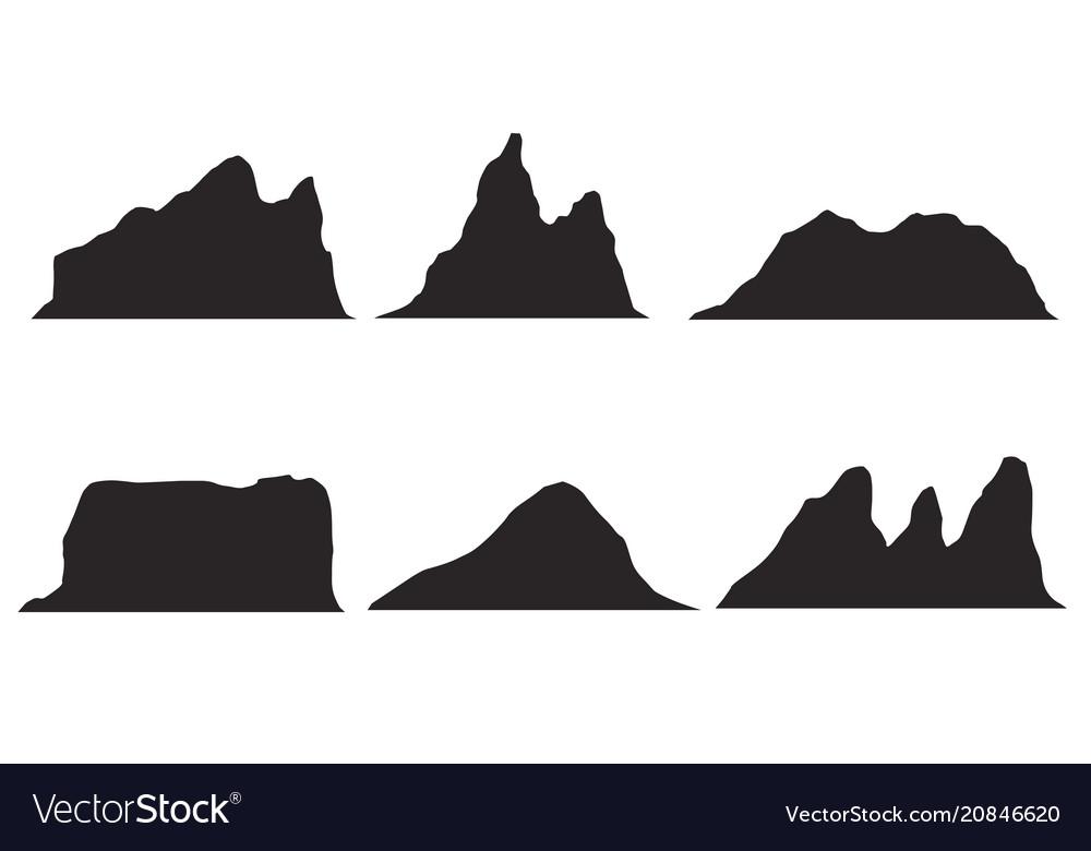 Set of black and white mountain silhouettes