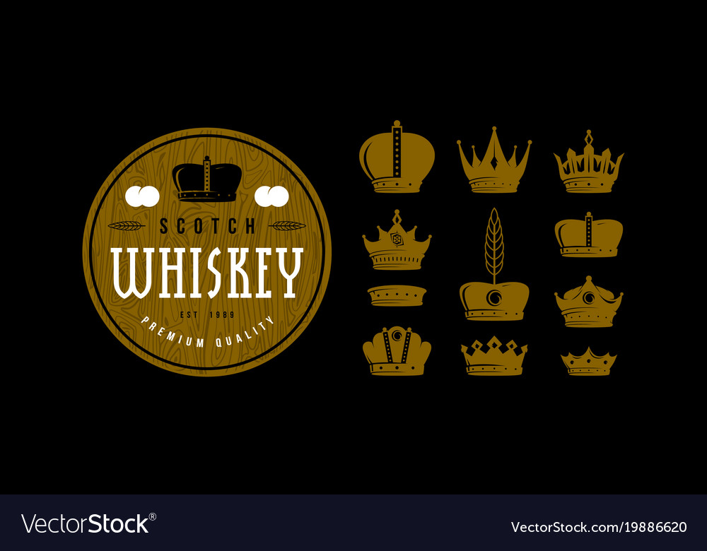 Set of crown icons for logo label and emblem