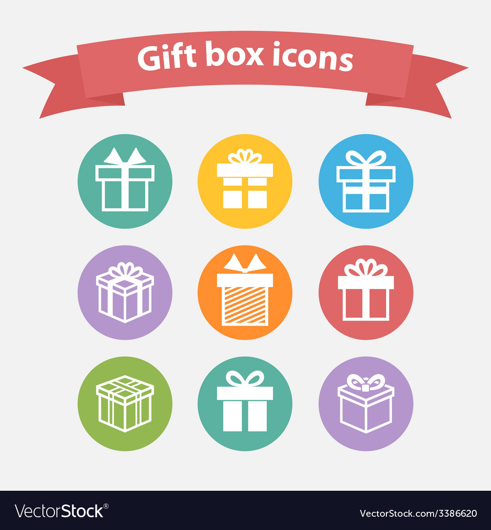 Set of white gift box iconsshapesign vector image