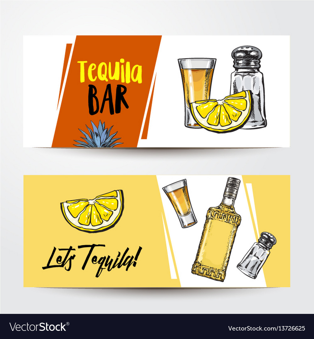 Banners with tequila bottle shot lemon salt