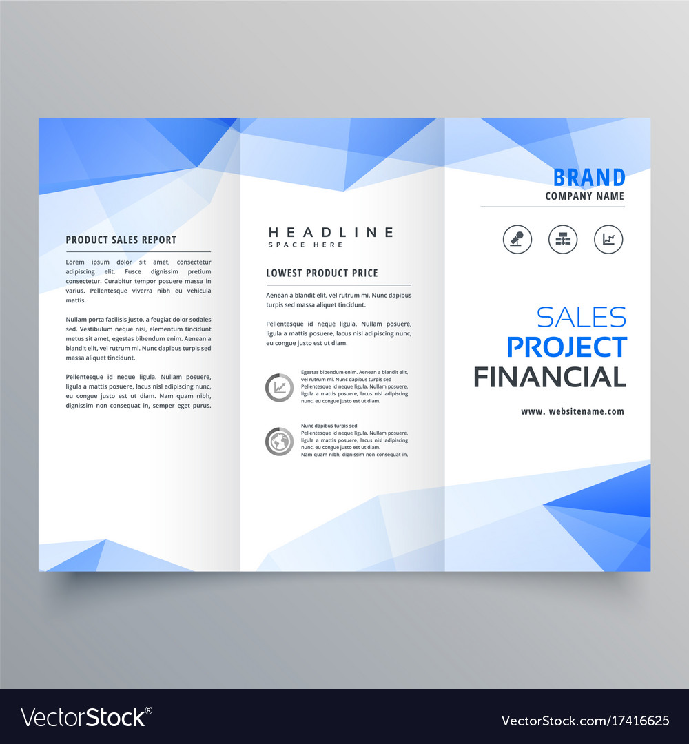 blue triangle shape trifold brochure design vector image