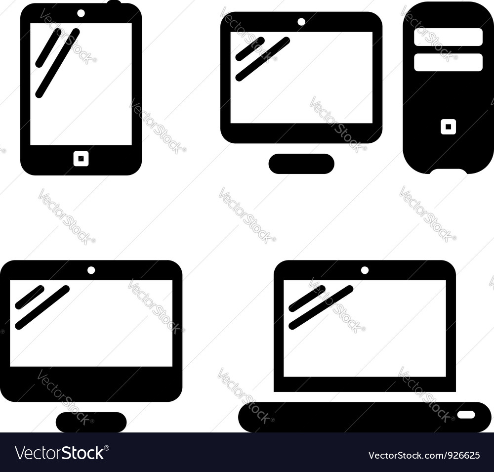 computer icons royalty free vector image vectorstock rh vectorstock com desktop computer icon vector computer repair icon vector